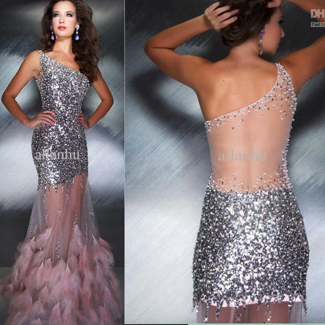 long transparent dress one shoulder sequin evening gown see through ...
