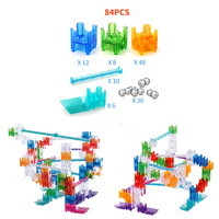 84PCS With 30 Maze Rails Builder Set Marbles Cubes Ball Building Blocks DIY Marble Run Assemble