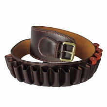 Tourbon Hunting Tactical Durable Brown Leather 12 Gauge Shotgun Shell Cartridge Belt Heavy Duty Hunting Gun Accessories tourbon hunting gun accessories brown real leather bandolier shotgun shell holder cartridge ammo belt tactical