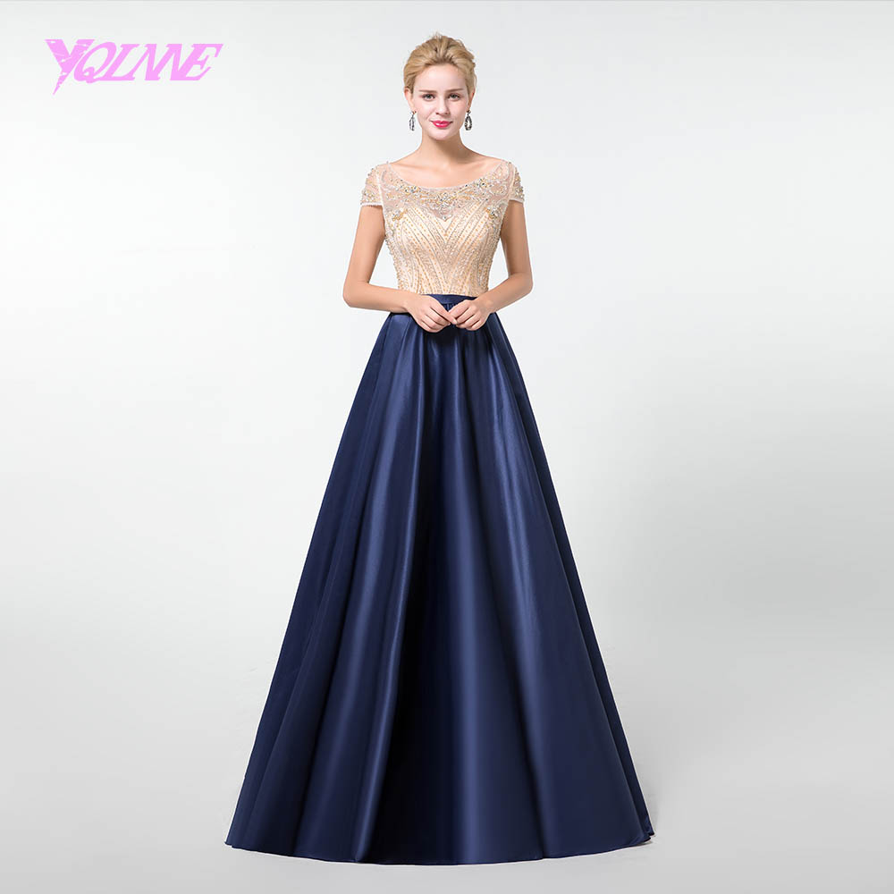 YQLNNE Long Sleeve   Prom     Dresses   2019 Evening Gowns Women Party   Dress   Satin Lace Appliques YQLNNE