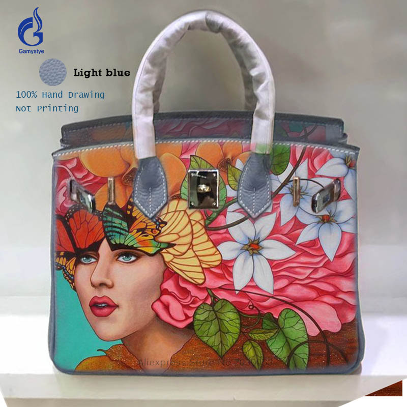 Fashion Luxury Women Cow Leather Shoulder Bags Hand Painted Graffiti Female Clutches Bags Genuine Leather Messenger Hand Bag Y women top handle bags yellow real genuine leather hand bags hand painted graffiti totes with hardware sac a main messenger bag y