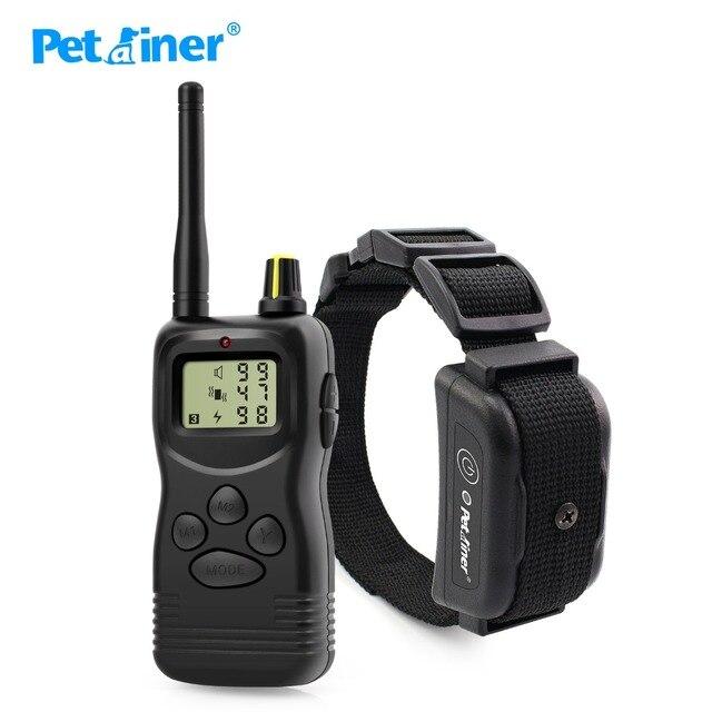 Petrainer 900B 1 vendita calda elettrico a distanza di controllo pet sistema del collare di addestramento del cane con display lcd 1000M
