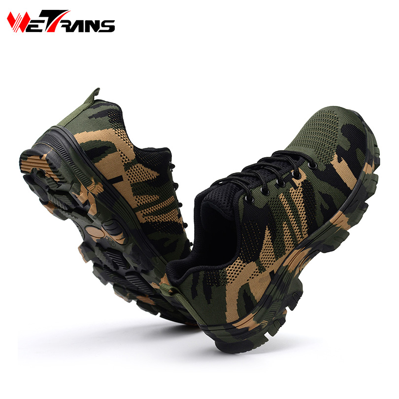 Wetrans Safety Shoes Working Outdoor Fahion Men Steel Toe Cap Camouflage Army Puncture Non-slip Platform Anti-puncture Boots zyyzym men work safety shoes steel toe cap casual shoes men non slip puncture outdoor boots