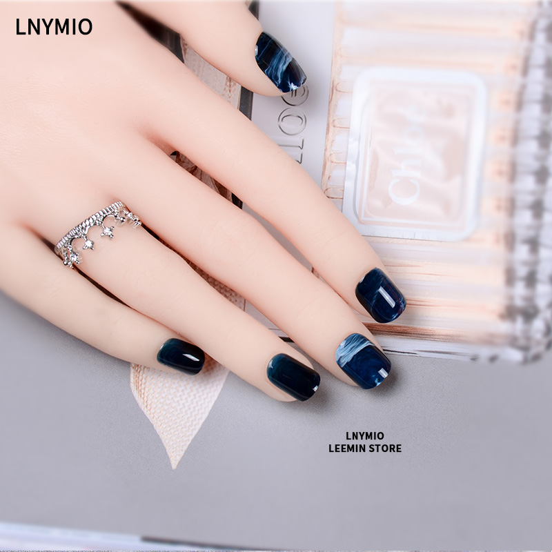 Color marble press on nails short round artificial nail tips red ...