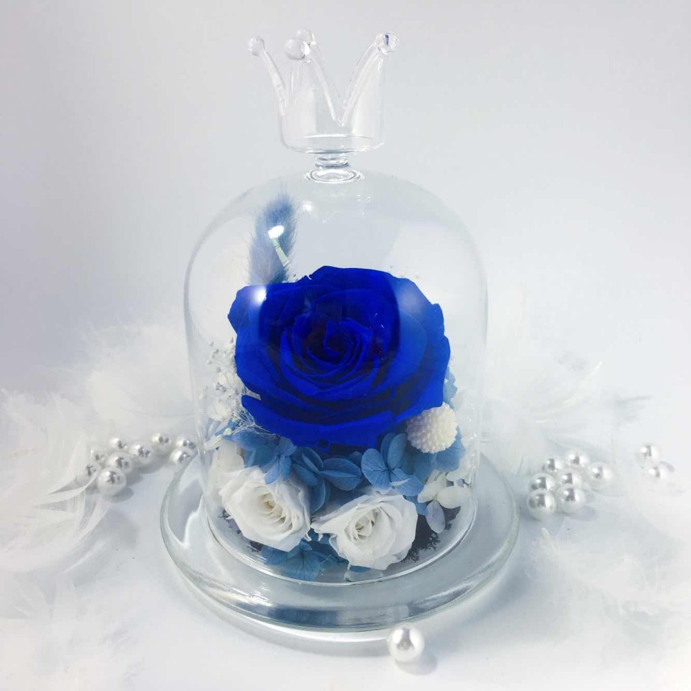Wedding Home Birthday Party Car Decoration Beautiful Glass Cover Fresh Preserved Rose Flowers in Artificial Dried Flowers from Home Garden