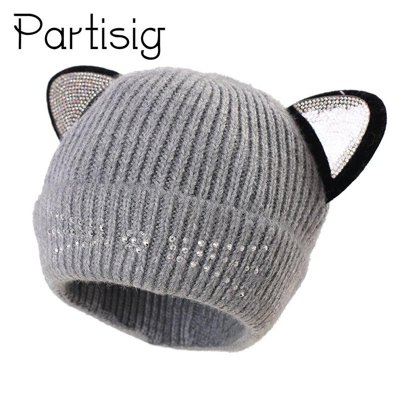 fb70bf62839 Baby Cap Rhinstone Cat Design Hat For Girls Crochet Cat Ear Hat For Boys  Warm Velvet Inside Children s Caps Cartoon Kids Cap