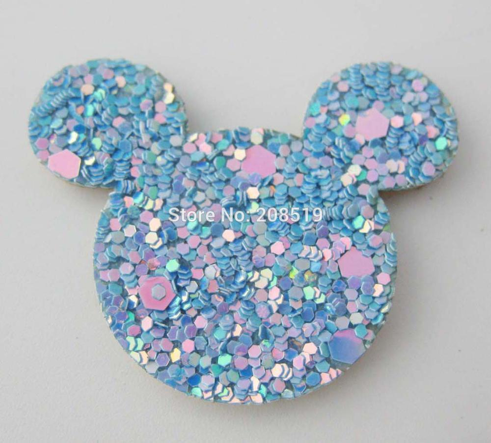 PANVKL 120pcs Charm Patches for hairclips DIY Micky shape padded shining glitter home decoration in Patches from Home Garden