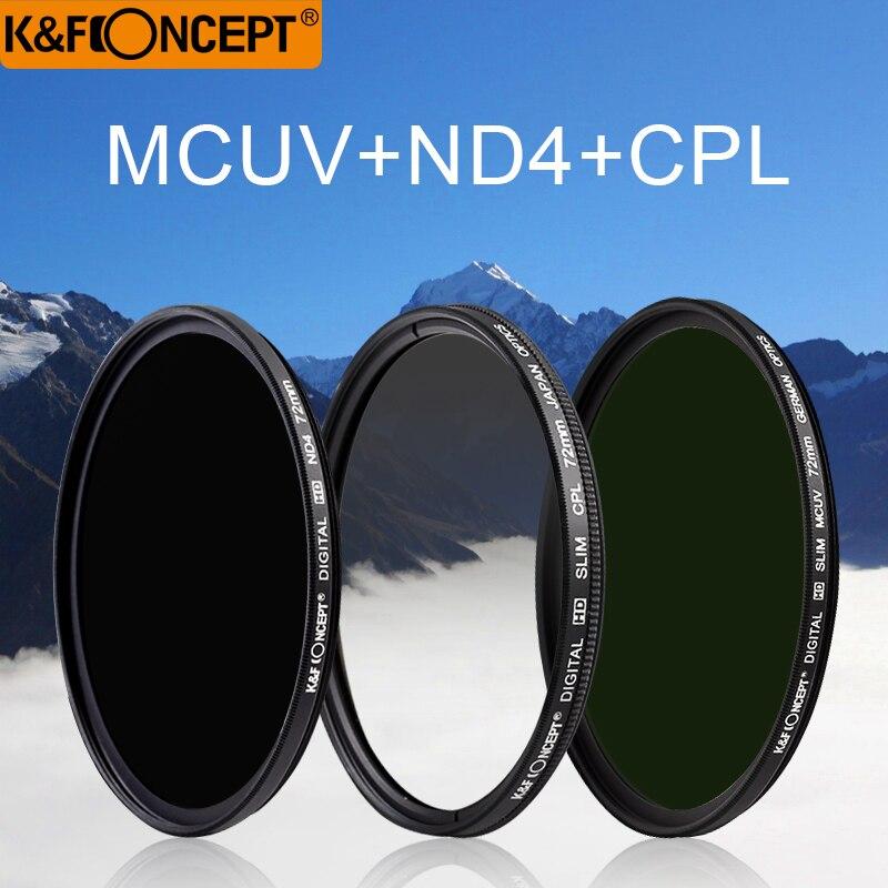K & F CONCEPT Brand UV CPL ND4 Kamera Objektiv Filter 52/55/58/62/67/72 / 77mm Rengjøringsklut + Filterpute Til Nikon Canon DSLR Kamera