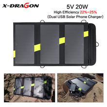 X-DRAGON 5V 3.7V 20W Portable Solar Charger Outdoors Panel Charger for iPhone iPad Samsung HTC LG Huawei Xiaomi Phones Tablets