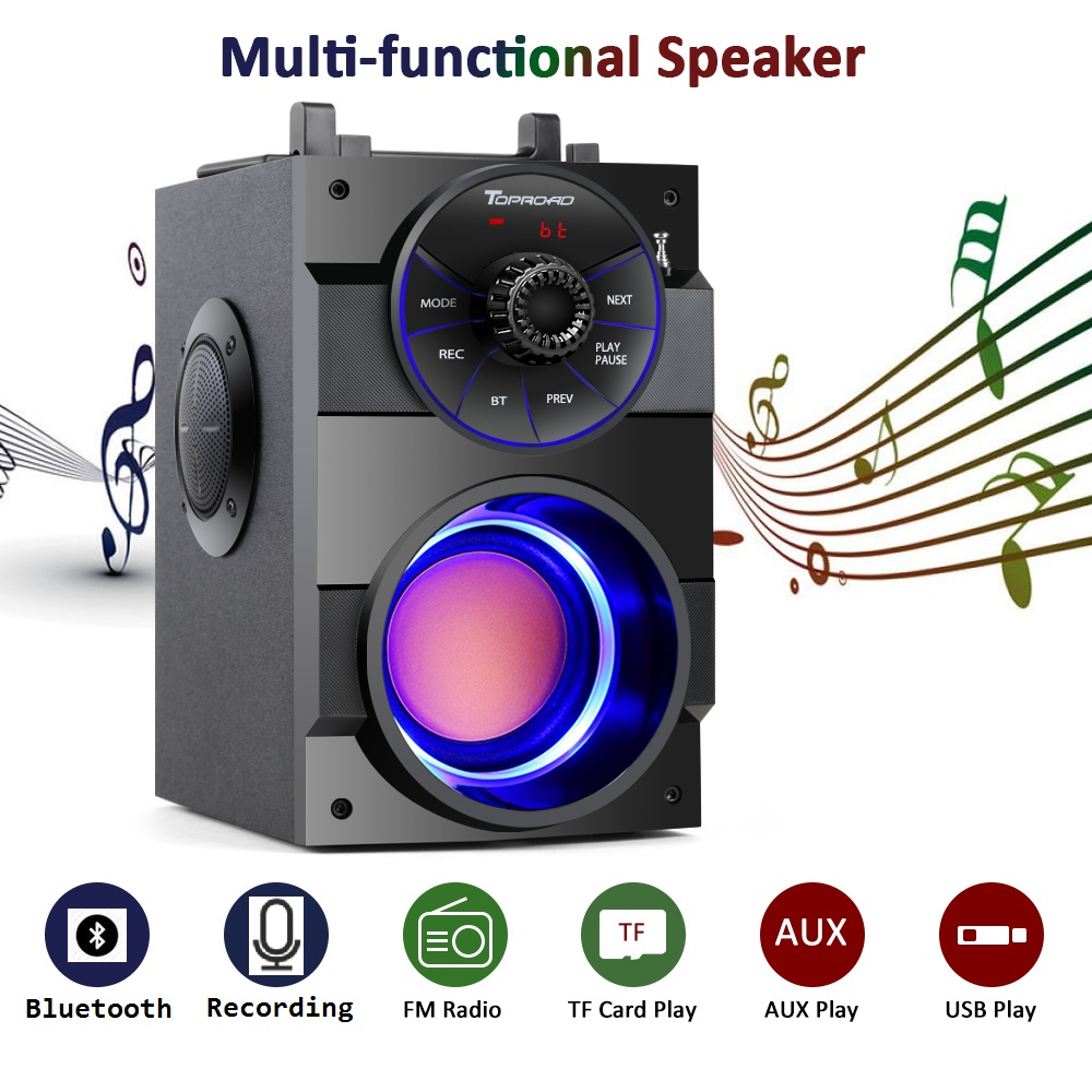 TOPROAD Bluetooth Speaker Portable Big Power Wireless Stereo Subwoofer Heavy Bass Speakers Sound Box Support FM Radio TF AUX USB 2