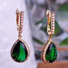 Blucome Brand Colorful Rhinestone Earrings Waterdrop Drop Aretes Cubic Zirconia Luxury Copper Earring Pendientes Largos de Cobre