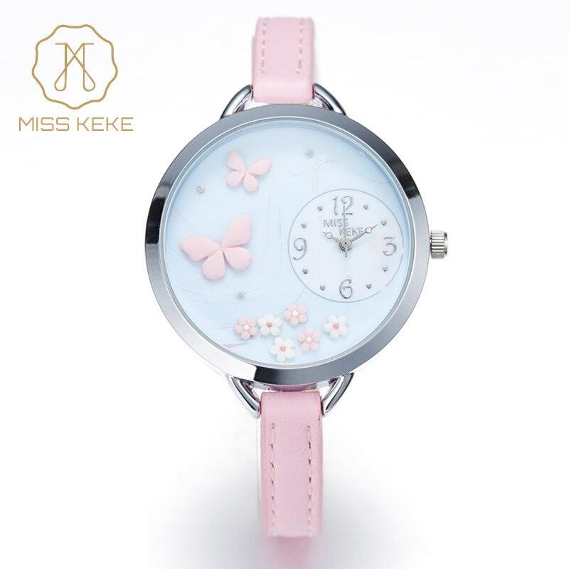 MISS KEKE 2017 new clay cute mini world kids Butterfly Flower girl watches children quartz Ladies