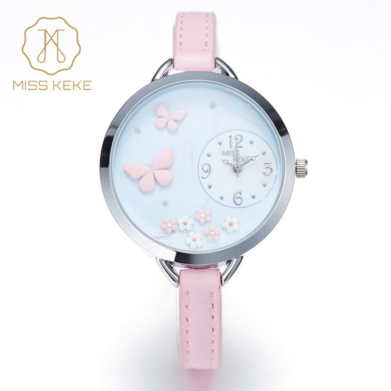 miss keke 2017 new clay cute Geneva kids Butterfly Flower girl watches Bracelet children Ladies Women