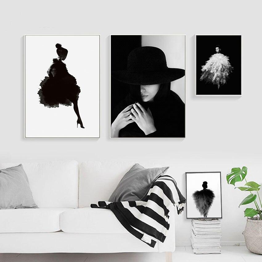 Nowoczesne Dziewczyny Mody Obraz Na Płótnie Plakaty Abstrakcyjne Plakaty Do Salonu Nordic Wydruki Czarno Białe Obrazy ścienne