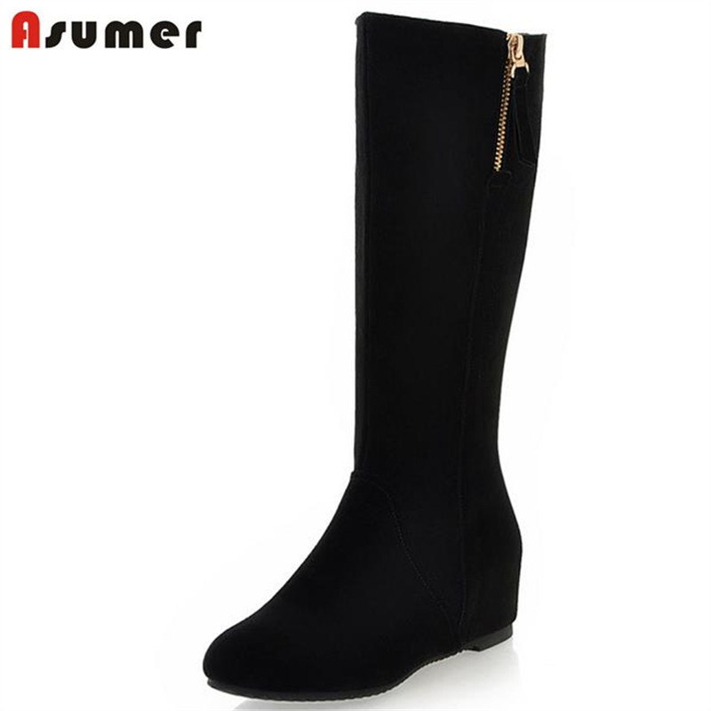 ФОТО Concealed heel  solid black fashion mid calf  high boots for women simple the fair maiden zip leisure manual long winter boots