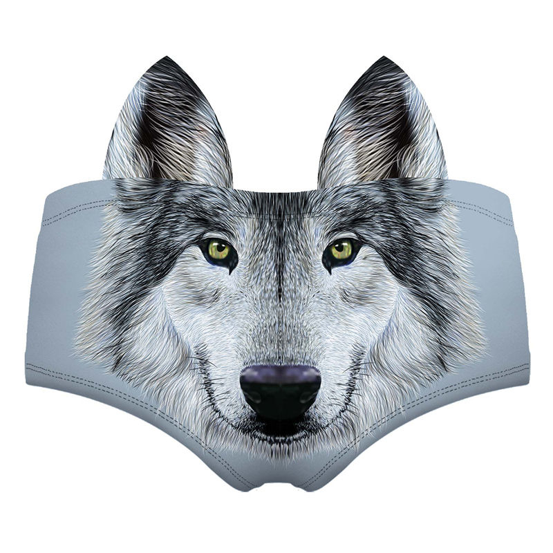 Sliver Wolf 3D Cute Print Ears Women Underwear Interesting Panties For Lady Hot Sexy Female Lingerie Thongs Briefs