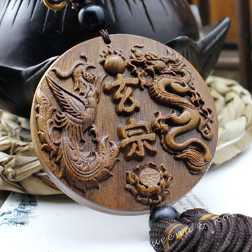 Wood Carving Chinese Knot Dragon Phoenix Car Pendant Amulet Wooden Craft