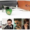 HBK 2016 New Army MILITARY AO Sunglasses American Optical Glass Lense Alloy Frame Quality Pilot Sunglasses Oculos De Sol