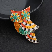 Terreau Kathy Vintage Colorful Owl Brooch Pin Enamel Animal Brooches For Women Fashion Accessories Jewelry 2017 New Arrival(China)