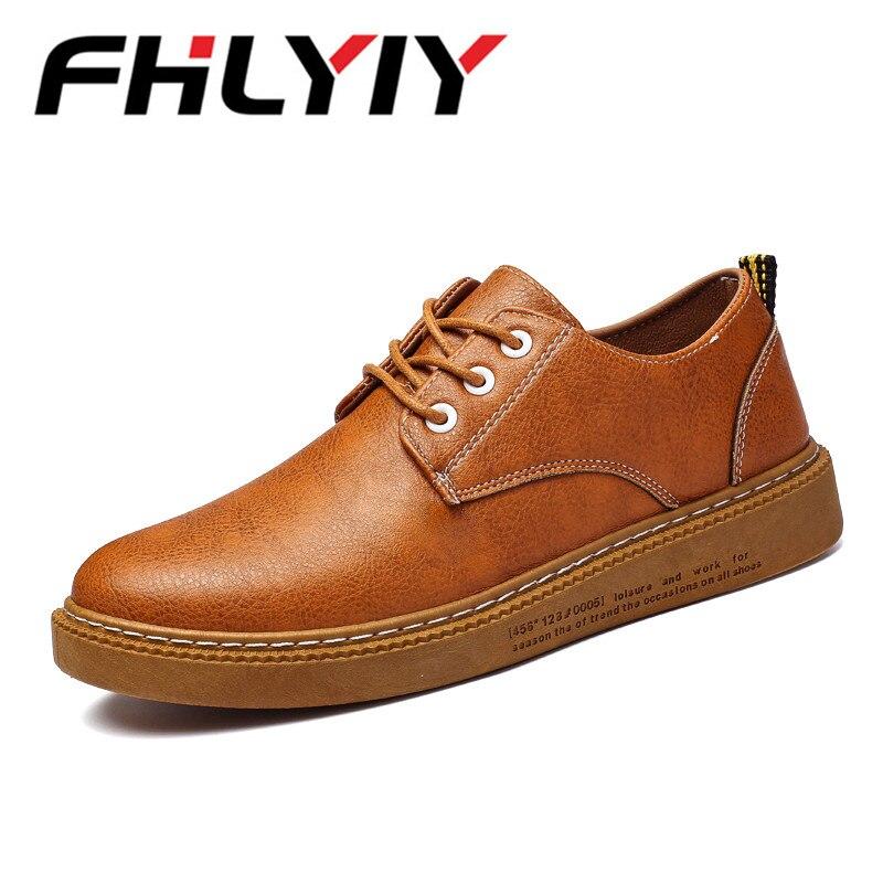 Brand Autumn Men Shoes Leather Bullock Men Casual Shoes Breathable British Fashion Retro Lace Up Flat Sneaker Shoes цена