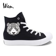 Wen Original diseño Animal Tatem tatuaje serie Panda elefante buho zapatos  casuales negro blanco de alta Top hombres de lona de . 26b6ec2caf73d