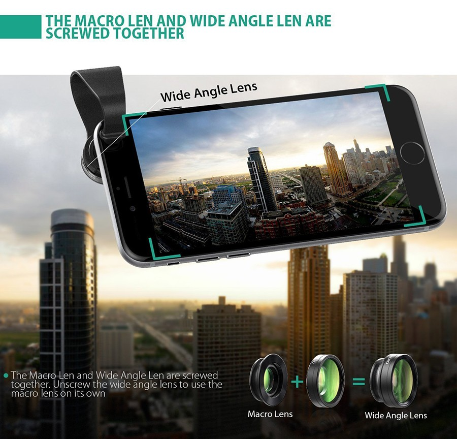 AUKEY Fish eye Lens 3in 1 Clip-on Cell Phone Camera 180 Degree Fisheye Lens+Wide Angle+Macro Lens for iPhone 7Plus Xiaomi & More 14