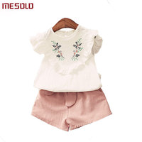 MESOLO Baby Girls Clothing 2019 New Cotton Embroidered Flower T shirts + Tie Solid Color Shorts 2pcs Kids Sets Children's Clothe