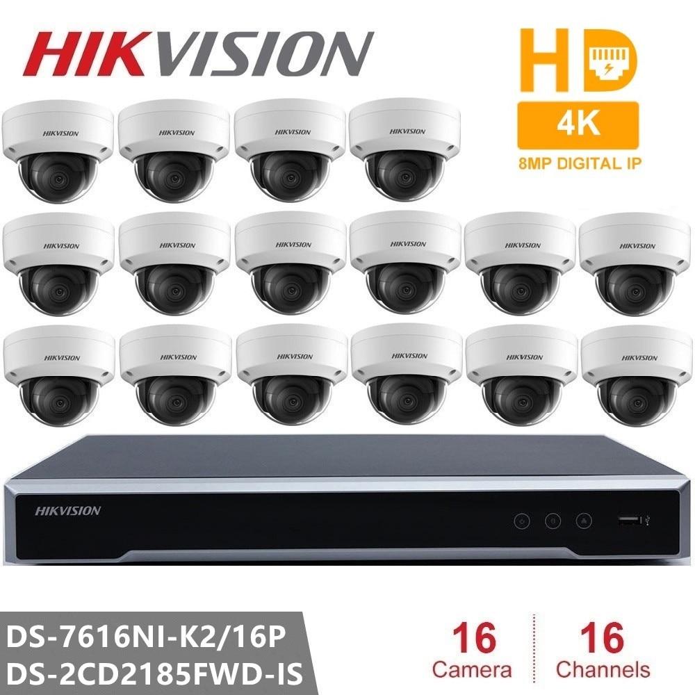 Hikvision Video Surveillance DS 7616NI K2 16P Embedded Plug Play NVR 4K 16pcs Hikvision 8MP H