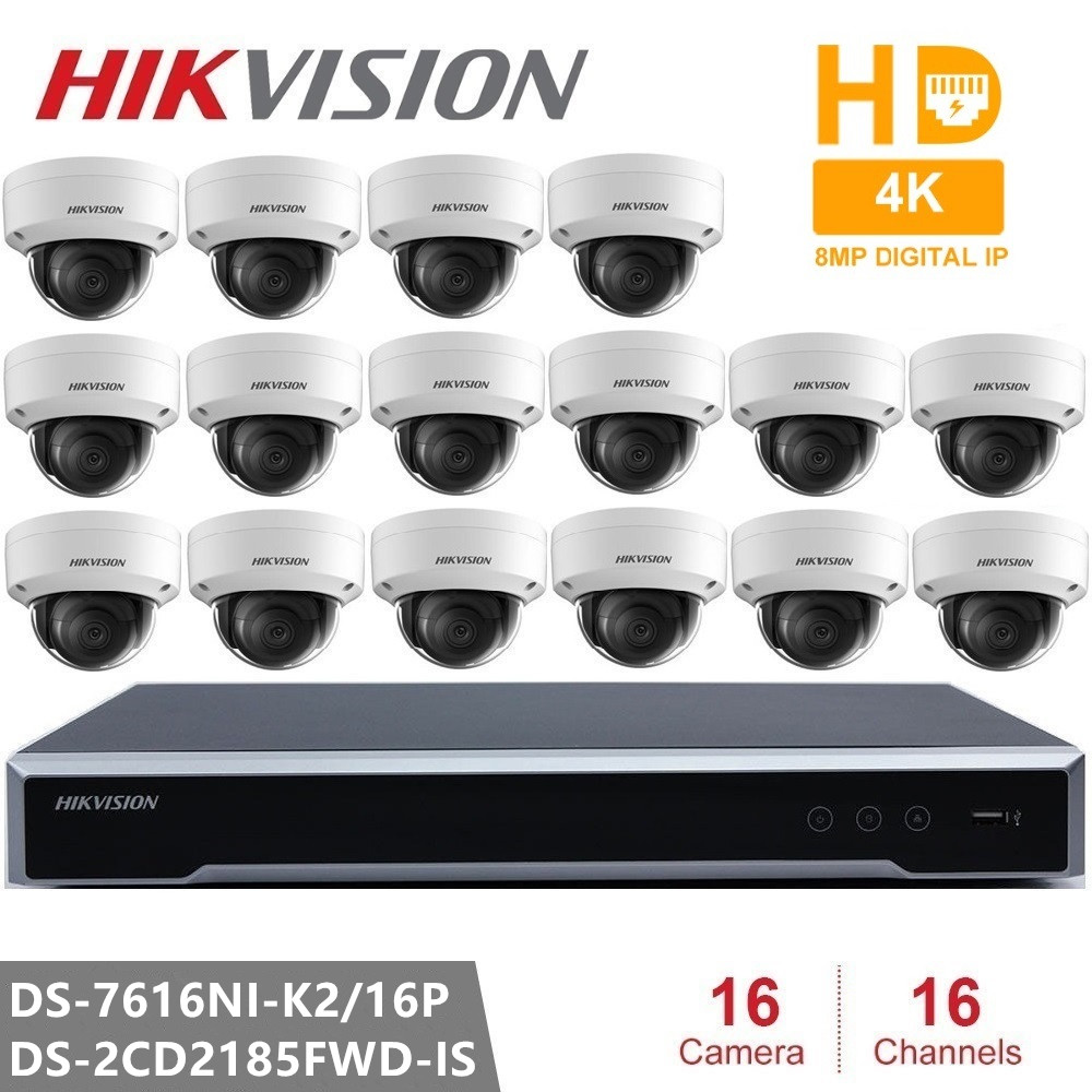 Hikvision ds Video di Sorveglianza DS-7616NI-K2/16 P Embedded Plug & Play NVR 4K + 16pcs Hikvision 8MP H.265 macchina Fotografica del IP di DS-2CD2185FWD-IS