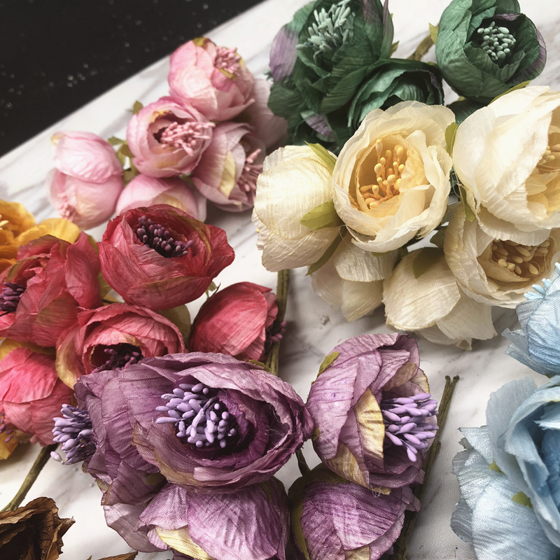 YOOROMER 6 pieces 5cm Peony flower head silk Artificial Flowers For Wedding Decoration DIY Decorative Wreath Fake Flowers in Artificial Dried Flowers from Home Garden