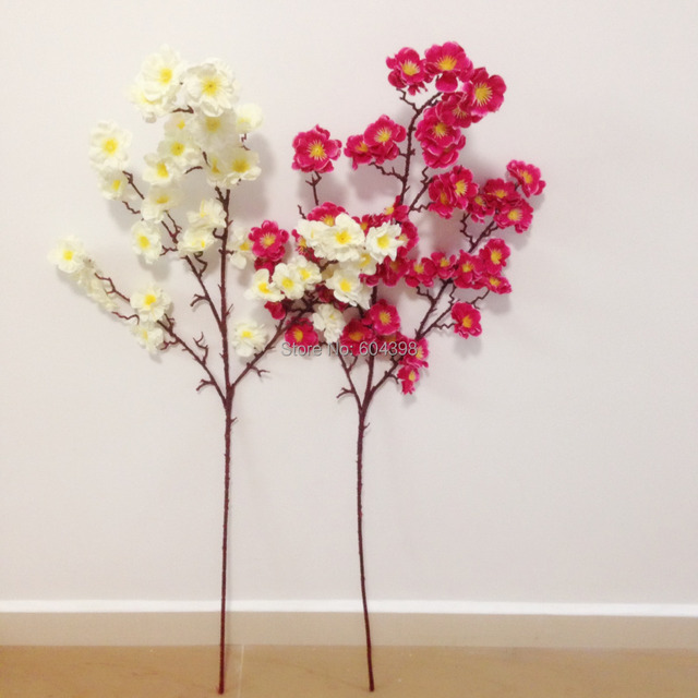 Single stem artificial silk flowers home decoration floral red plum single stem artificial silk flowers home decoration floral red plum blossom and white ivory cream flowers mightylinksfo