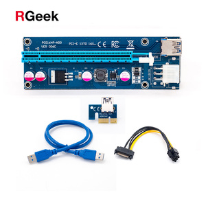 Wholesale 006C USB 3.0 PCI-E Express 1X 4x 8x 16x Extender Riser Adapter Card SATA 15pin Male to 6pin Power Cable(China)