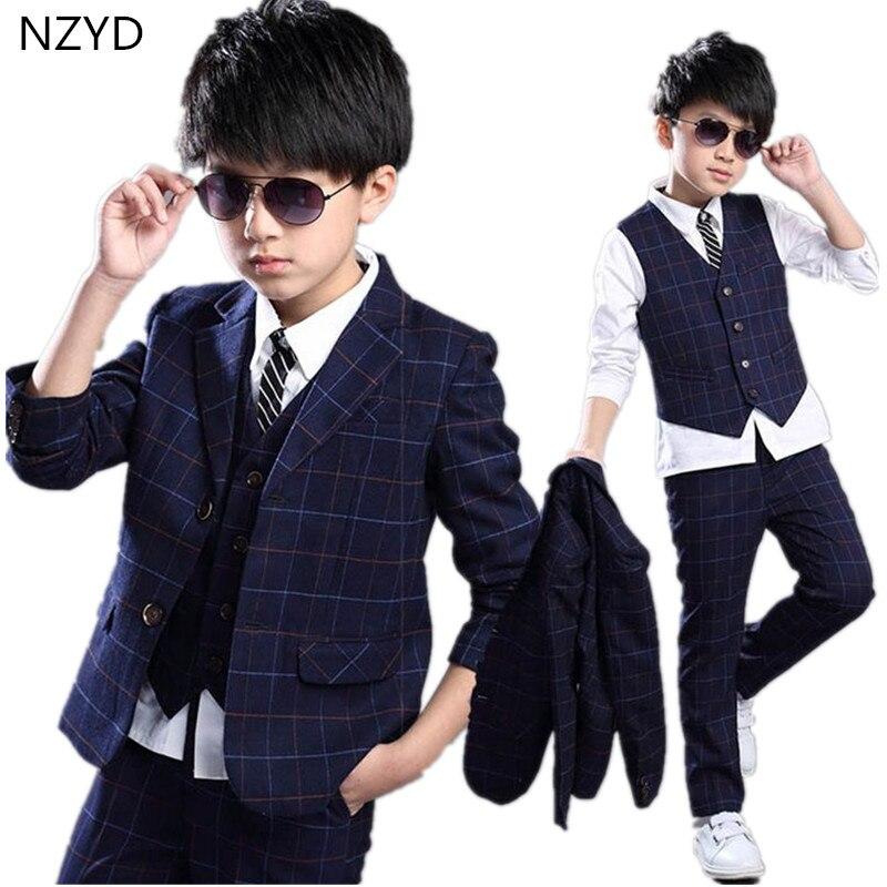Boy New Spring Autumn Children's Clothing Suit 2017 Suit Coat + Vest + Trousers Handsome Gentleman Kids Clothes 2PSC Set DC530 handsome boy and summer gentleman shirt strap 2 suit factory direct