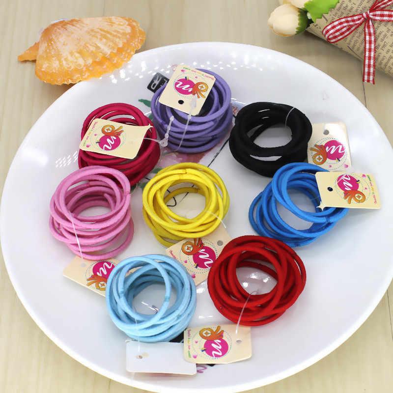 10 ชิ้น/ล็อตเด็กทารกที่มีสีสันแหวนผมยืดผม Tie Gum ผมผู้ถือหางม้ายางเด็กอุปกรณ์เสริม