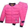 Детская Одежда Устанавливает Мальчики Девочки Одежда Устанавливает Зима Теплая Куртка С Капюшоном + Брюки Зимние детская Одежда Костюм для Chirstmas