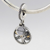 Fits Pandora Charms Bracelet New 925 Sterling Silver Family Tree Beads With Silver Charm DIY Making