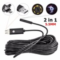 10pcs 2 in 1 Handheld 5.5mm Lens 1M PC Android Endoscope Adjustable 6LED 720P Inspection Borescope for Android Phone PC Tablet