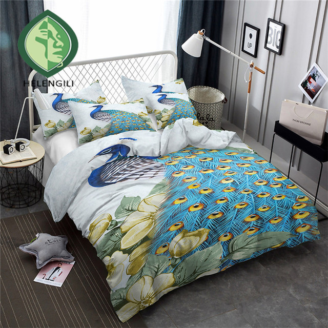 Beau HELENGILI 3D Bedding Set Peacock Print Duvet Cover Set Lifelike Bedclothes  With Pillowcase Bed Set Home