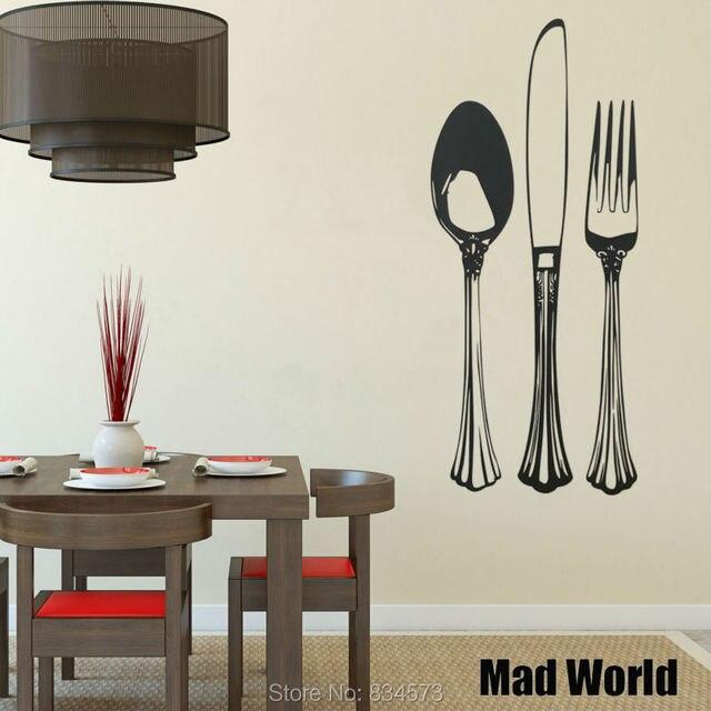 Fancy Silverware Set Spoon Knife Fork Wall Art Stickers Decal Home ...