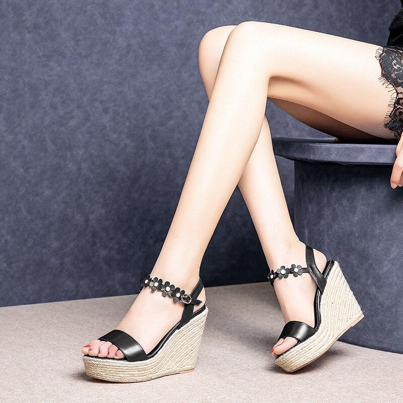 48cdf3cd5ca2ba Style Fille Fleur forme Plate D'été À Compensés Décontractées Femme  Chaussures Tissage Paille Pour Noir ...