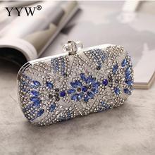 Luxury Rhinestone Beaded Clutch Purse Elegant Blue Sac Main Femme Evening Bags Wedding Clutch Handbag Metal Chain Shoulder Bags