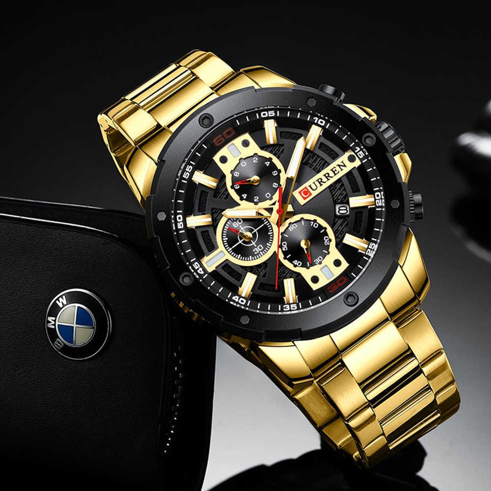 ספורטיבי שעונים גברים יוקרה מותג CURREN האופנה קוורץ שעון עם נירוסטה מזדמן עסקי שעוני יד זכר שעון