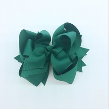 1PC 5inch Kids Hair Bows 3Layers Solid Jade Clips Boutique  Green For Girls Hairpins Accessories 20 colors
