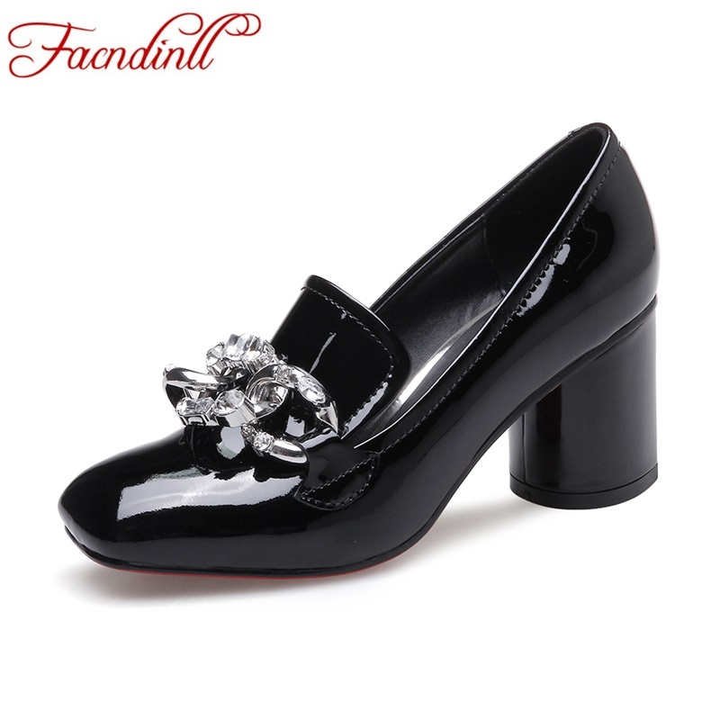 FACNDINLL new 2017 autumn women pumps genuine leather high heel square toe shoes woman black red dress party wedding shoes pumps esveva 2017 ankle strap high heel women pumps square heel pointed toe shoes woman wedding shoes genuine leather pumps size 34 39