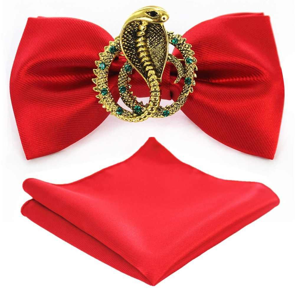 Jemygins original metal golden snake duas camadas pescoço gravata borboleta sólida moda masculina ajustável bowtie bolso sqaure caixa conjunto