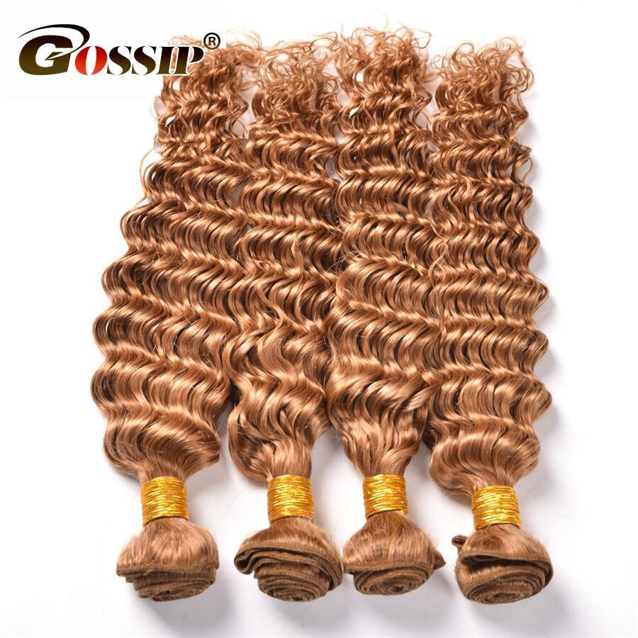 Gossip Honey Blonde Malaysain Curly Hair 3 Bundles Deal Ombre Human Hair Weave Bundles 27# Hair Extensions Non Remy (3)