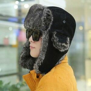 Image 2 - HT2001 erkekler kış kürk şapka yumuşak PU deri Trapper rus şapka kapaklar kalın sıcak rus Ushanka şapkalar kış rüzgar geçirmez bombacı şapka