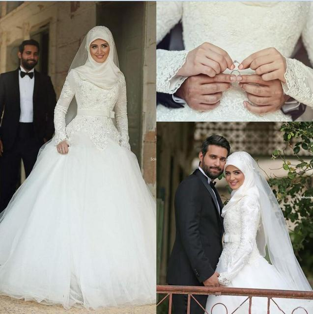 2017 Arabic Islamic A Line Wedding Dresses Said Lace Winter Bridal ...