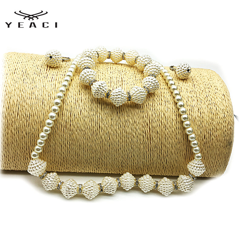 YEACI 1Set New Fashion Imitation Pearl Necklace Bracelet Earring Party Wedding Jewelry Gift For Women Free Shipping N-086