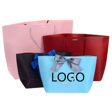 custom printed logo gift pink paper bag/Recyclable cardbord paper bag/white cardboard paper bag 50pcs/1lots(China)